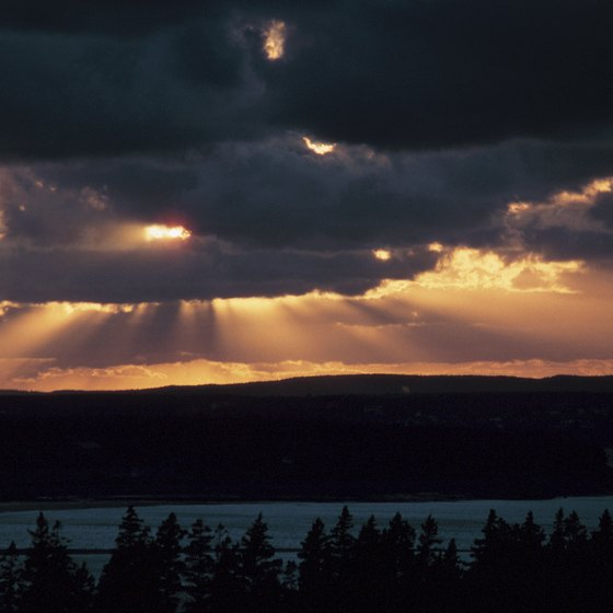 Hotels in Amherst provide a view of the sunset over the Bay of Fundy.