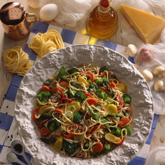 Actually an American invention, pasta primavera consists of pasta mixed with fresh vegetables.