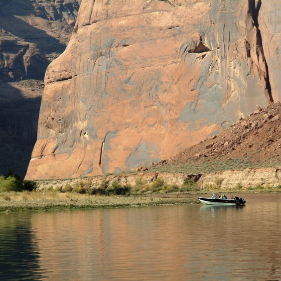 Lake Powell is famous for its red canyon walls.