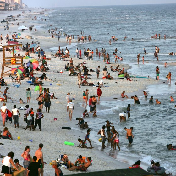 Pensacola Beach on the Florida Panhandle sees throngs of tourists during peak season.