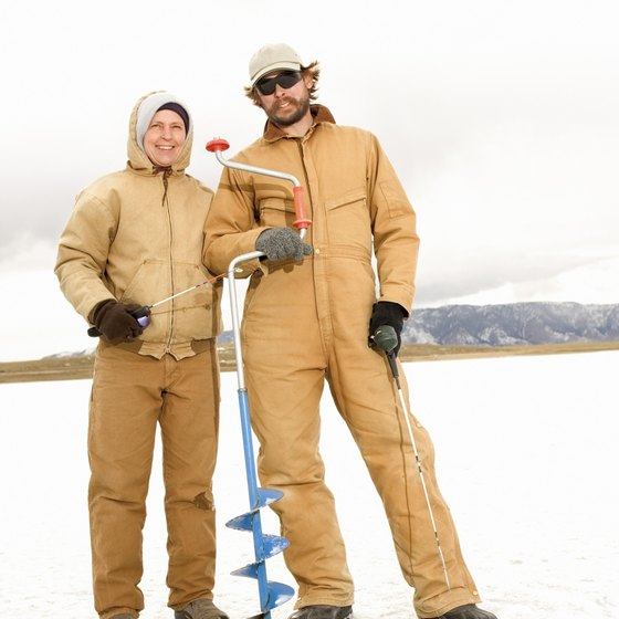 Drill your hole in the ice with an auger, and start fishing.