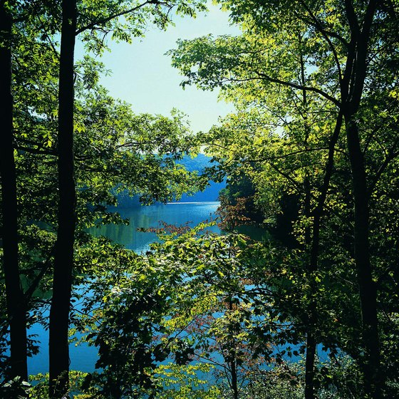 The Appalachian Trail crosses Fontana Lake in the Smoky Mountains.