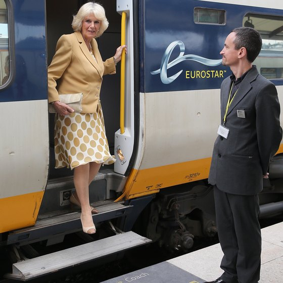 The Duchess of Cornwall arrives in Paris from London on Eurostar.