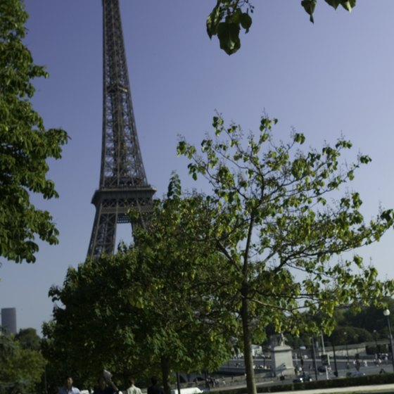 The Eiffel Tower looms over the Paris landscape.