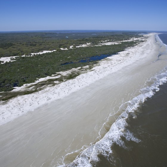 Miles Of Sandy Beach Border The Atlantic Ocean On Georgia S Barrier Islands
