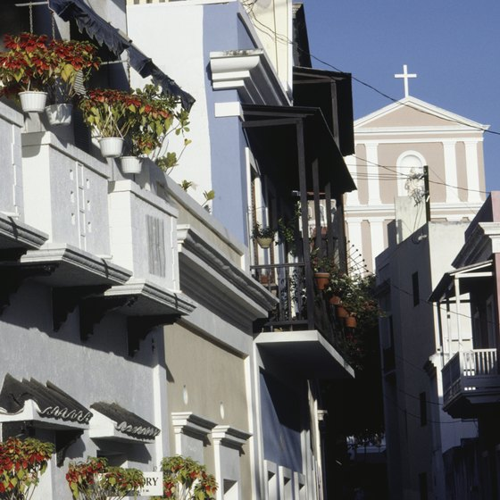 Lovers can stroll along the winding streets and amid the colonial architecture in Old San Juan, Puerto Rico.
