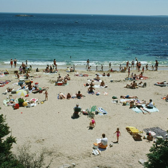 In the summer, beachgoers flock to the Maine coast in Bar Harbor.