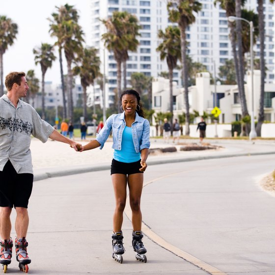 Rollerbladers can take advantage of the wide sidewalks of Venice Beach.