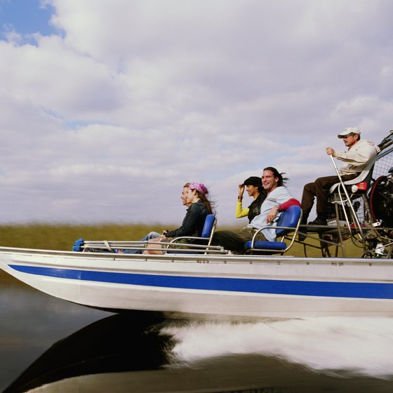 Propelled by a caged aircraft-type propeller, airboats can go where conventional boats can't.