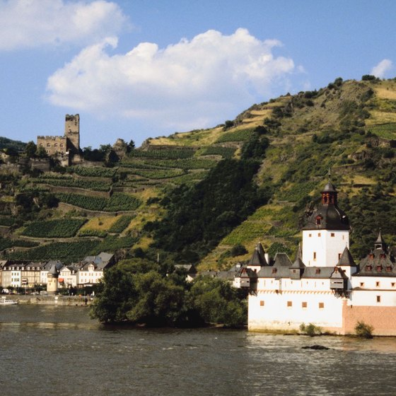 Castles and vineyards dot the hillsides of the Rhine Valley.