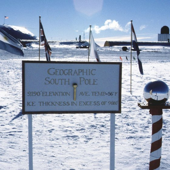 The South Pole stands at the center of Antarctica.