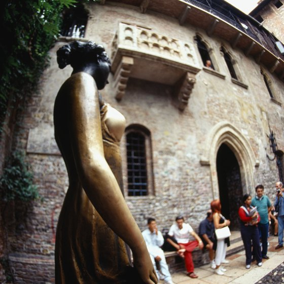 Juliet's statue and balcony are among the popular attractions in Verona, Italy.