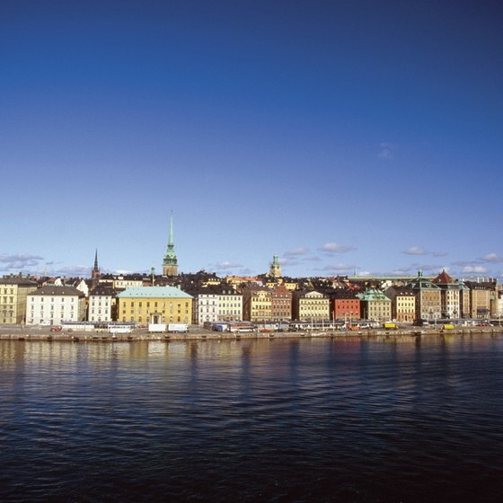 Buildings line the waterfront in the Gamla Stan section of Stockholm.