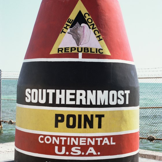 The Southernmost Point buoy in Key West, Florida.