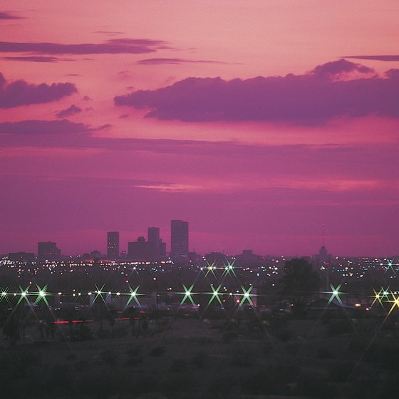 Dramatic desert sunsets over the Phoenix skyline set the stage for romance.