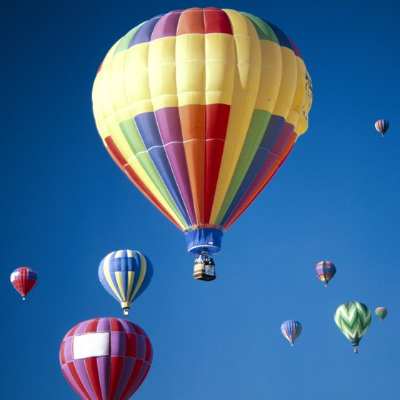 Hot-air balloons fill clear, blue skies in Albuquerque.