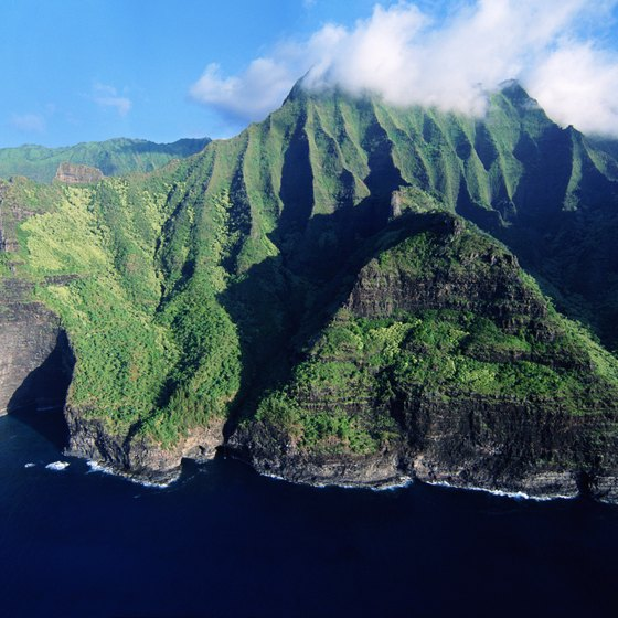 Kauai's Napali coast is visible from the air, sea and by hiking trail.