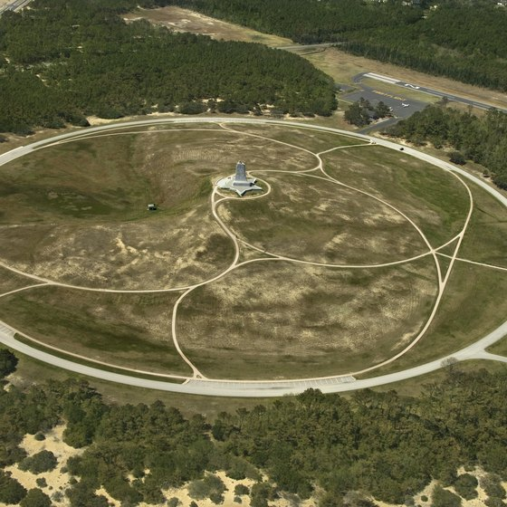 A monument in Kill Devil Hills celebrates the Wright brothers' first flight.