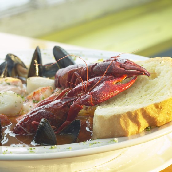 Enjoy a lobster dinner when dining in Waterville, Maine.