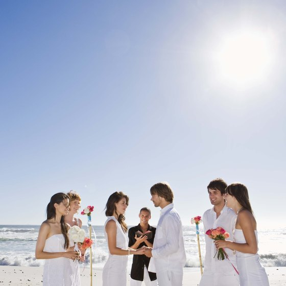 Beaches are popular places for couples to exchange their vows.