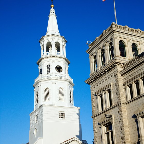 Savannah's Bay Street is close to historic churches and other buildings.
