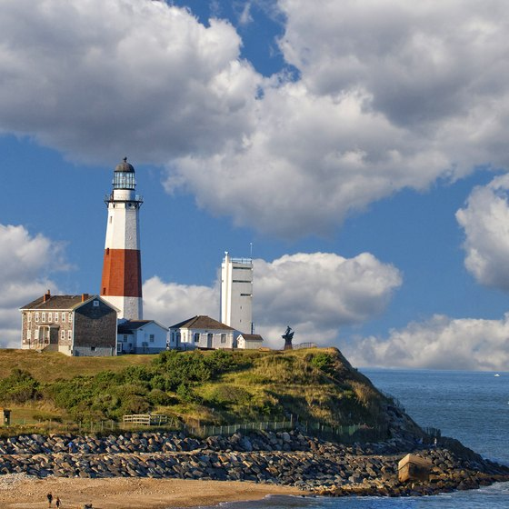 The photogenic Montauk LIghthouse beckons visitors to eastern Long Island shores.