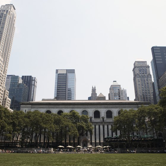 Bryant Park, behind the New York Public Library, is a 12-minute walk from the Waldorf-Astoria.