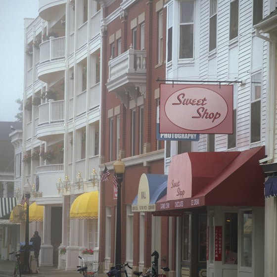 Charming storefronts on the car-free Michigan island of Mackinac.