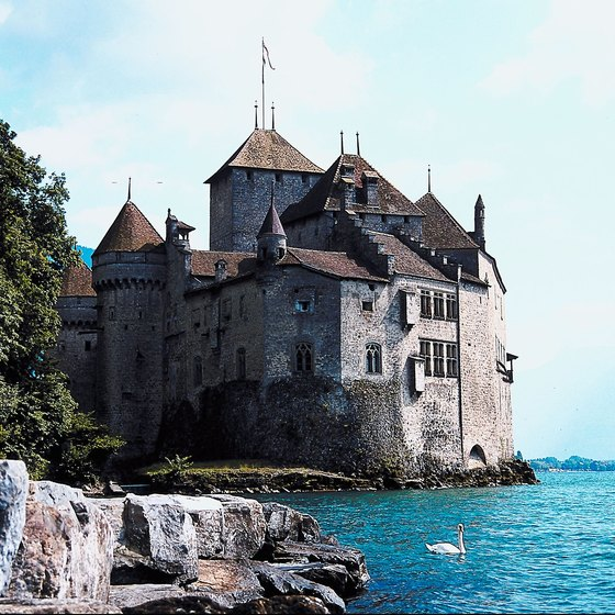 Chillon Castle is on the banks of Lake Geneva.