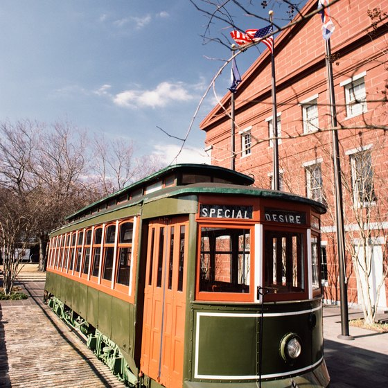 The historic St. Charles streetcar line connects hotels near Lee Circle with other parts of New Orleans.
