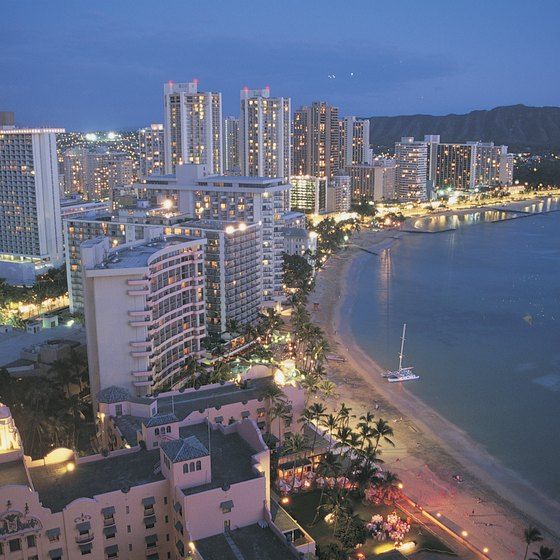 Waikiki Beach in Honolulu features plentiful dining options.