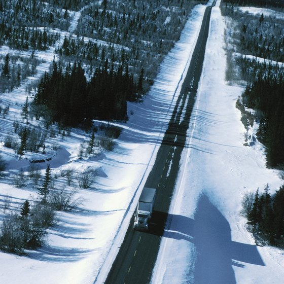 The 1,390-mile Alaska Highway runs from Dawson Creek to Delta Junction.