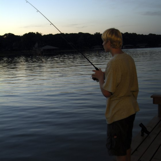 Enjoy relaxing activities, like fishing, at Texas lakes.
