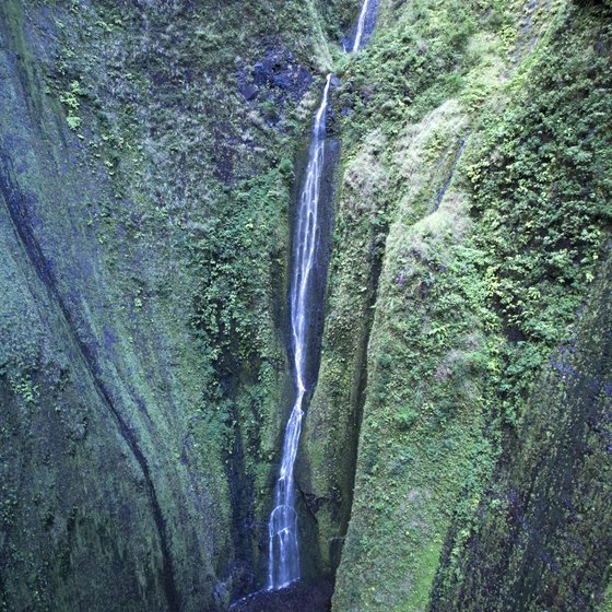 A two-mile hike leads to Maui's Waimoku Falls.