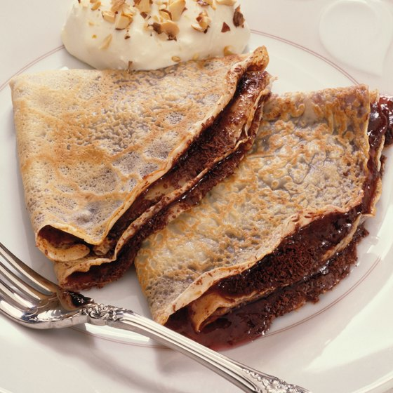 Some New Jersey-based restaurants serve dessert crepes with chocolate and whipped cream.