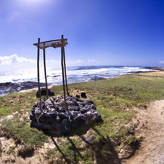 Remnants of a Hawaiian temple at Ka Lae near the Green Sand Beach.