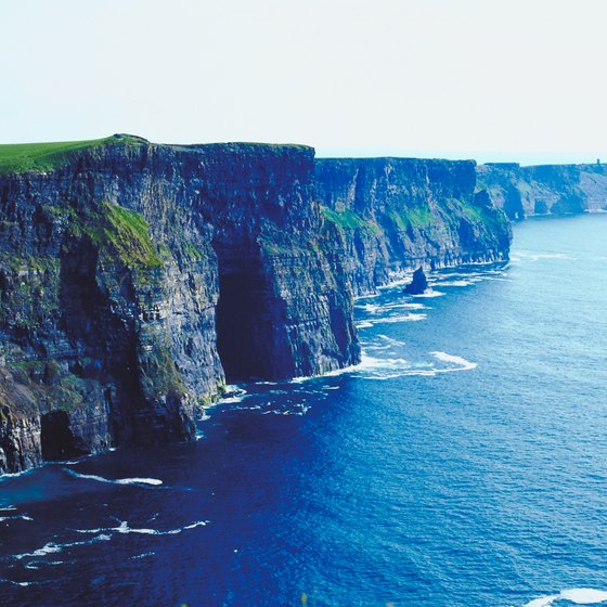 The Cliffs of Moher rise dramatically out of the sea on Ireland's western shore.