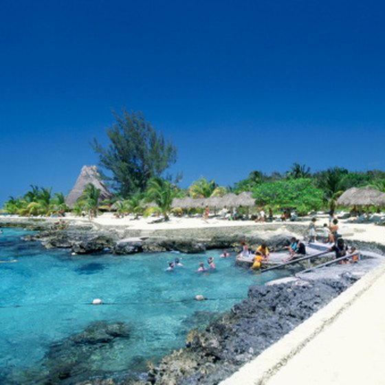 A rocky beach in Cozumel.