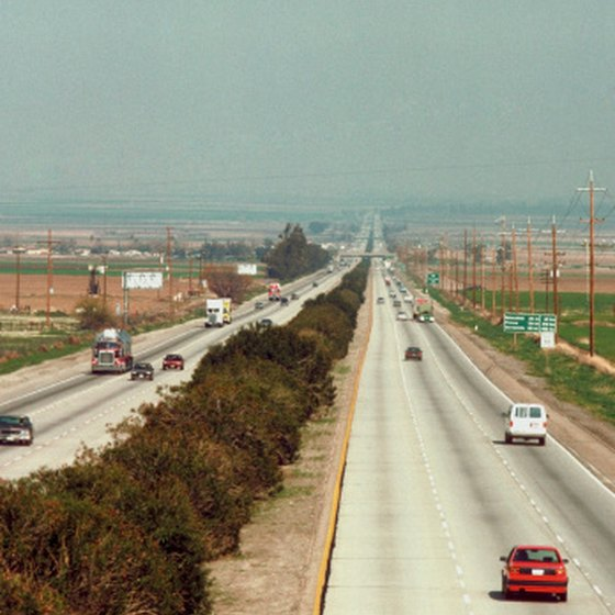 Interstate 5 cuts north and south through the heart of California.