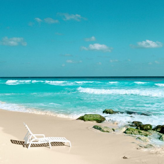 The coastline along the Yucatan peninsula is lined with white sand and coral reefs.
