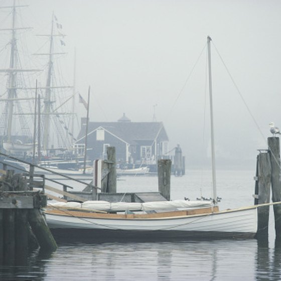Mystic, Connecticut, promotes its history as a popular seafaring destination.
