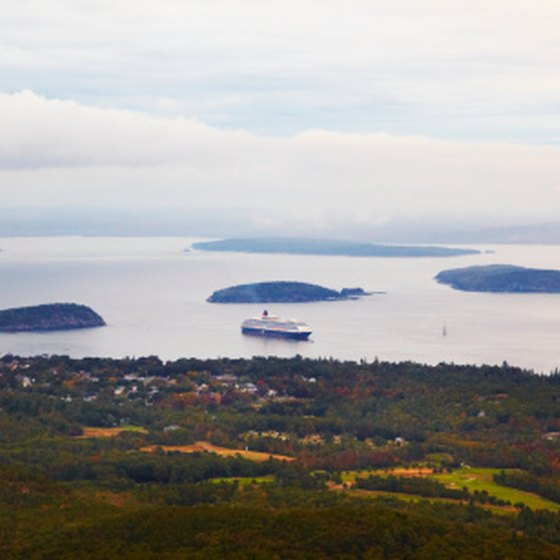 A cruise ship docks at Bar Harbor, Maine, before heading to Canada.