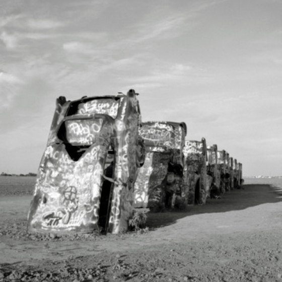 The cars at Cadillac Ranch just outside Amarillo are a popular tourist attraction.