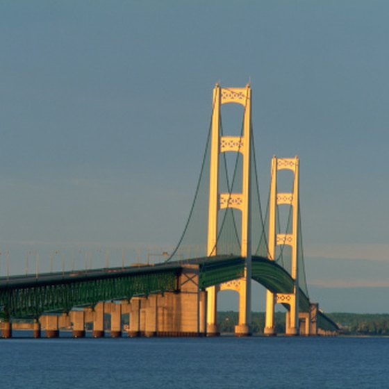 The Mackinac Bridge crosses the Straits of Mackinaw.