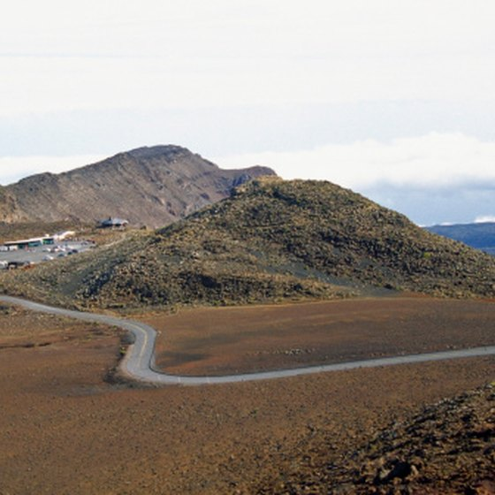 """Science City"" on the summit of Maui's Haleakala Volcano is home to major observatories."