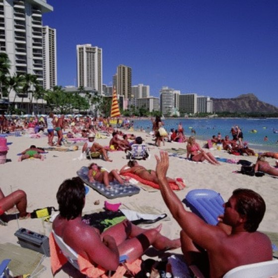 Only the most exclusive properties are on the beach at Waikiki.