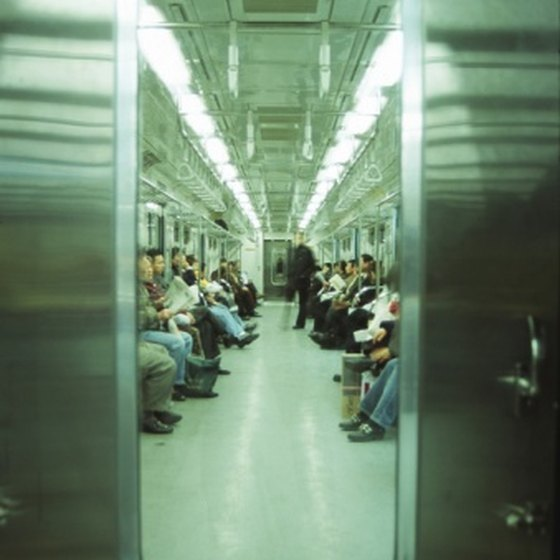 A quiet time on the Seoul subway.
