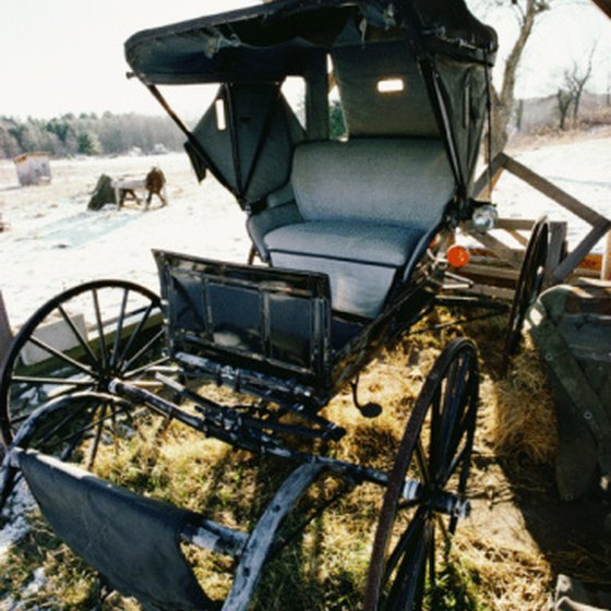 An Amish Buggy Is The Preferred Method Of Transportation.