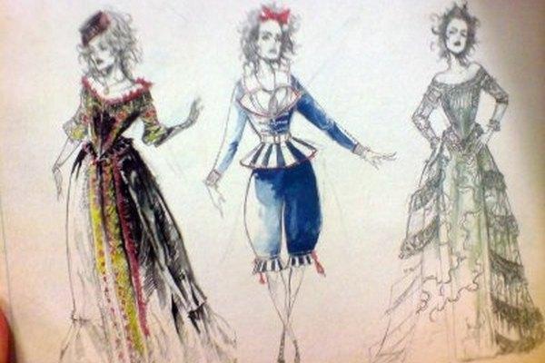 Bocetos finales para los diseños de los vestuarios de una obra de teatro.