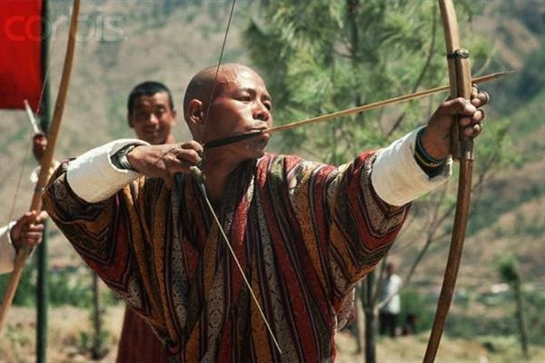 Traditional Asian bamboo bow.